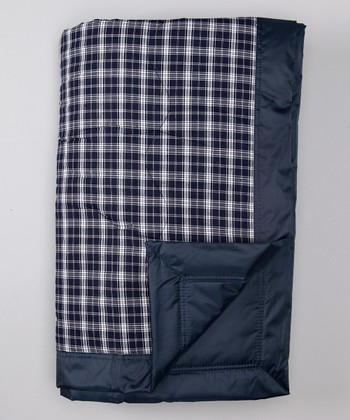 Navy Plaid Outdoor Blanket