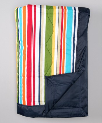 Navy Stripe Outdoor Blanket