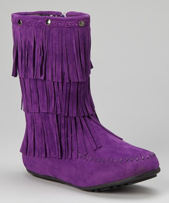 Purple Fringe Boot