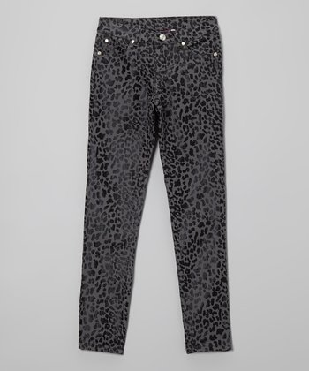 Gray Leopard Wax-Coated Jeans