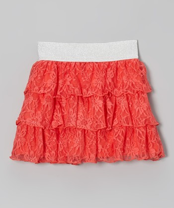 Coral Floral Lace Tiered Ruffle Skirt