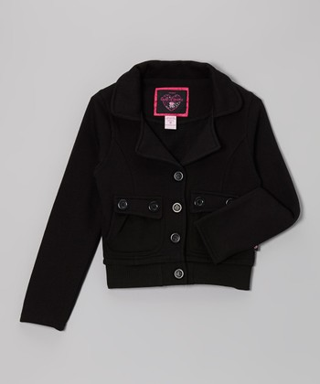 Black Button Pocket Jacket