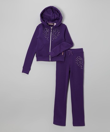 Purple Studded Heart Fleece Zip-Up Hoodie & Pants