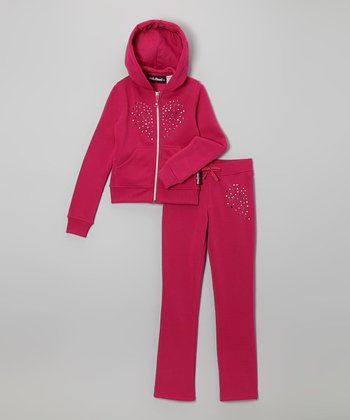 Hot Pink Studded Heart Fleece Zip-Up Hoodie & Pants