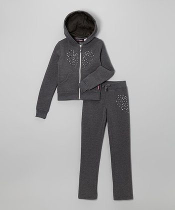 Charcoal Studded Heart Fleece Zip-Up Hoodie & Pants