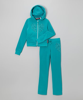Emerald Studded Heart Fleece Zip-Up Hoodie & Pants