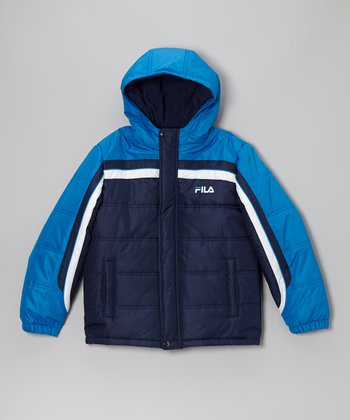 Blue & Black Puffer Coat - Boys