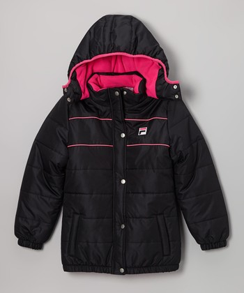 Black & Pink Puffer Coat - Girls