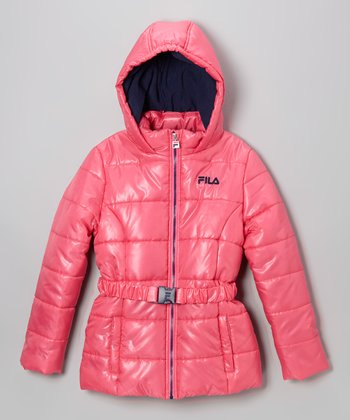 Pink Platinum Puffer Coat - Girls