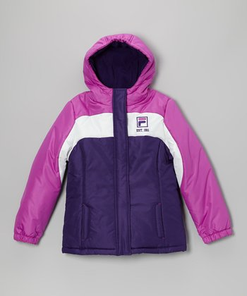Pink & Purple Puffer Coat - Girls