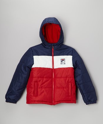 Navy & Red Puffer Coat - Boys