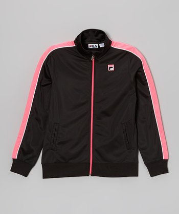 Anthracite & Knockout Pink Track Jacket - Girls