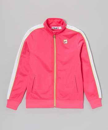 Pink Glo & Bright White Track Jacket - Girls