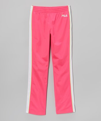 Pink Glo & Bright White Track Pants - Girls