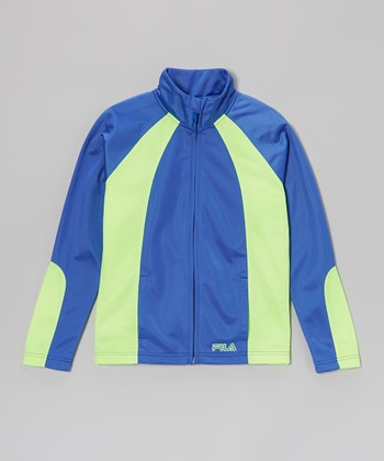 Dazzling Blue & Chartreuse Track Jacket - Girls