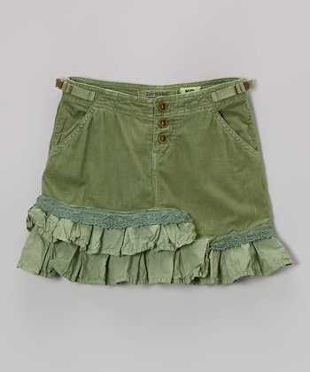 Avocado Tiered Corduroy Trumpet Skirt - Girls
