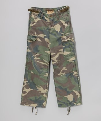 Green Camo Cargo Pants - Girls