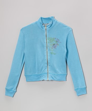 Sky Floral Silk Zip-Up Jacket - Girls