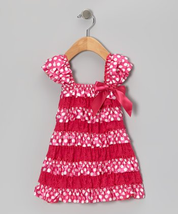 Fuchsia Polka Dot Lace Ruffle Dress - Infant & Toddler