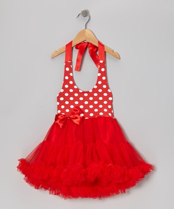Red Polka Dot Halter Pettiskirt Dress - Infant, Toddler & Girls