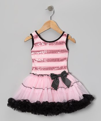 Pink & Black Sequin Pettiskirt Dress - Infant, Toddler & Girls