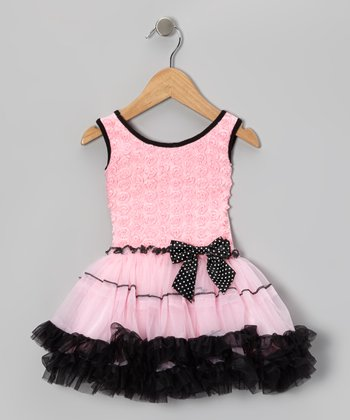 Pink & Black Rosette Pettiskirt Dress - Infant, Toddler & Girls