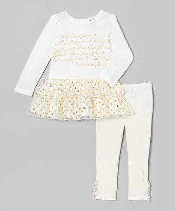Cream Metallic Ruffle Tunic & Leggings - Infant, Toddler & Girls