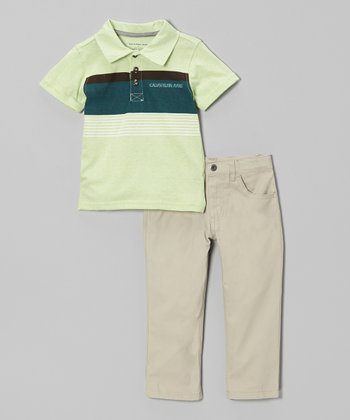 Lime Stripe Polo & Khaki Pants - Toddler