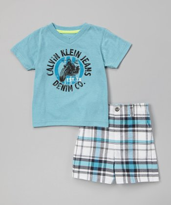 Blue 'Calvin Klein Jeans' Tee & Shorts - Infant, Toddler & Boys