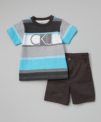 Blue & Gray Stripe Tee & Shorts - Infant, Toddler & Boys