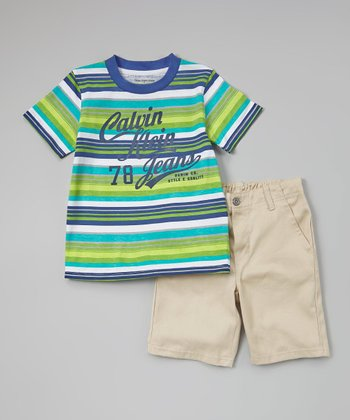 Green & Blue Stripe Tee & Shorts - Infant & Toddler