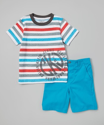 Red & Blue Stripe Tee & Shorts - Infant, Toddler & Boys