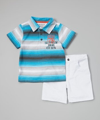 Blue & White Stripe Polo & Shorts - Infant, Toddler & Boys