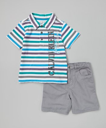 Blue 'Calvin Klein Jeans' Polo & Shorts - Infant, Toddler & Boys