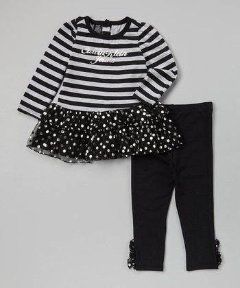 Black & Gray Stripe Tunic & Leggings - Infant, Toddler & Girls