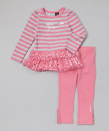 Pink & Gray Stripe Tunic & Leggings - Infant, Toddler & Girls
