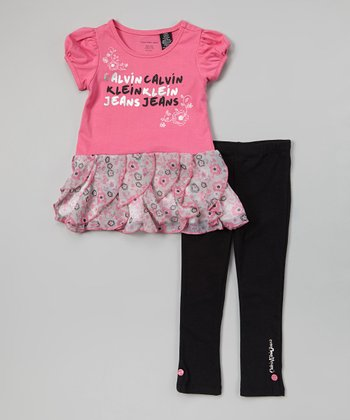 Pink Floral Ruffle Tunic & Leggings - Infant & Toddler
