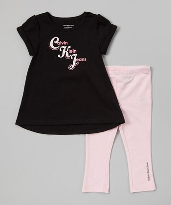 Black & Pink Tunic & Leggings - Infant, Toddler & Girls