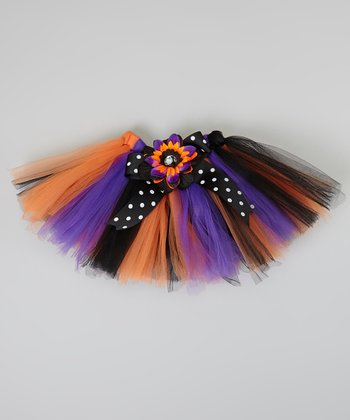 Purple & Orange Tutu & Clip - Infant, Toddler & Girls