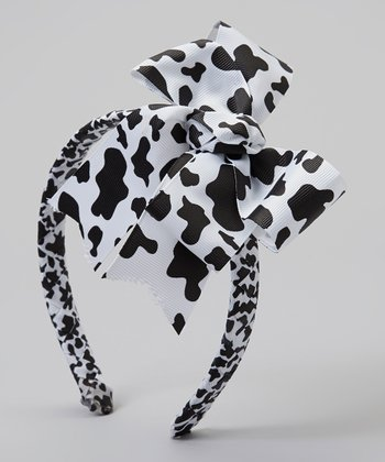 Black & White Cow Braided Headband & Bow Clip