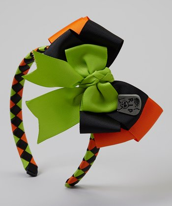Orange & Lime Green Braided Headband & Clip