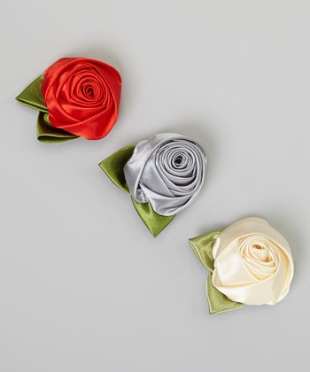 Ivory, Red & Gray Rose Clip Set
