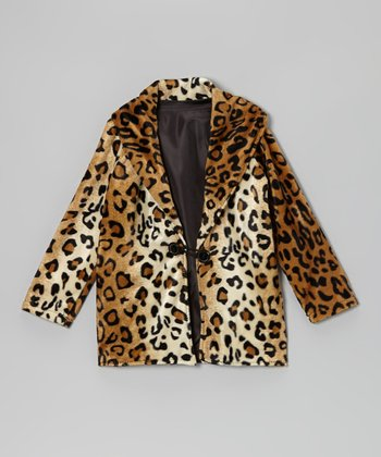 Tan Leopard Shawl-Collar Coat - Infant, Toddler & Girls