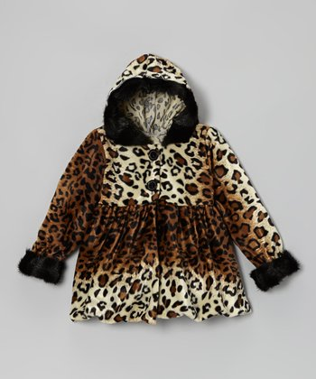 Tan Leopard Swing Coat - Infant, Toddler & Girls