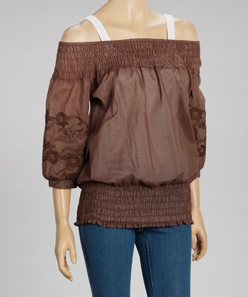 Brown Three-Quarter Sleeve Top
