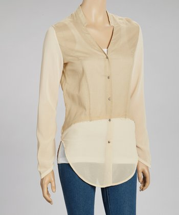 Beige Ombré Button-Up