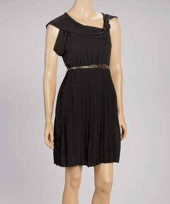 Black Pleated Drape Neck Dress