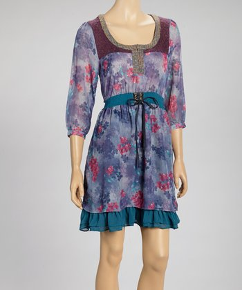 Purple Bouquet Three-Quarter Sleeve Dress