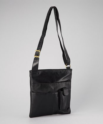 Black iPad Leather Crossbody Bag