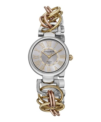 Silver & Rose Gold Link Watch - Women